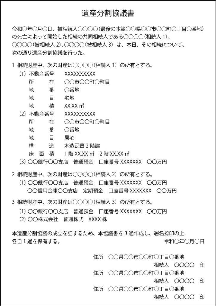 遺産分割協議書の例の画像