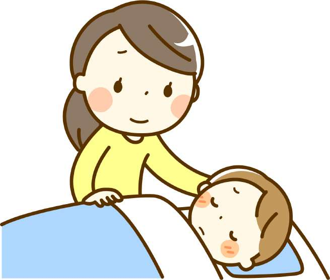 難病の子供と家庭の画像
